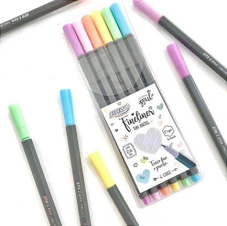 Canetinha Hidro Fine Liner C/6 0,4mm Tons Pastel - BRW