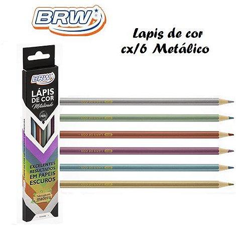 Lapis de Cor de madeira C/6 Cores Metálica BRW
