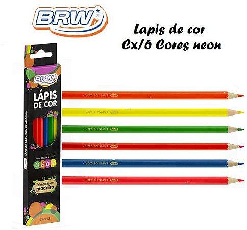 Lapis de Cor de madeira C/6 Cores Neon  BRW
