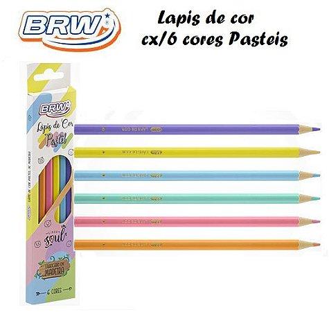 Lapis de Cor de madeira C/6 Cores Pastel BRW