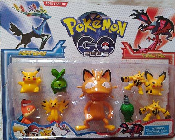 1 cartela Pokemon do Meowth com 1 personagem de 10 cm e 8 personagens com 5 cm + 3 cards