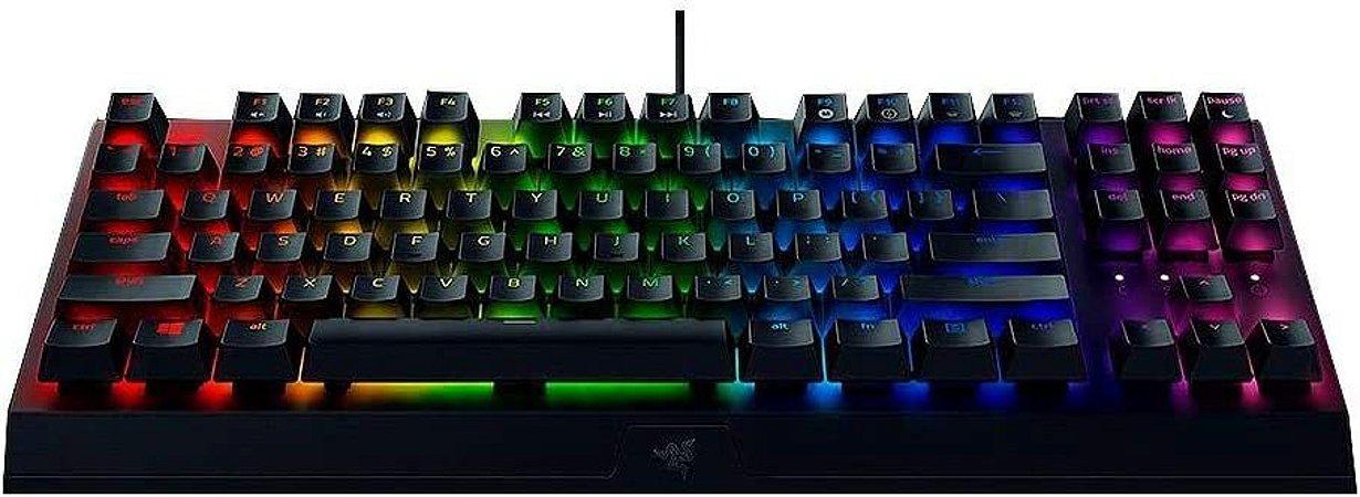 Razer Teclado mecânico para jogos BlackWidow V3: interruptores mecânicos verdes - táteis e cliques - iluminação Chroma RGB - fator de forma compacto - funcionalidade macro programável, preto clássico (Encomenda, 10 Dias úteis)