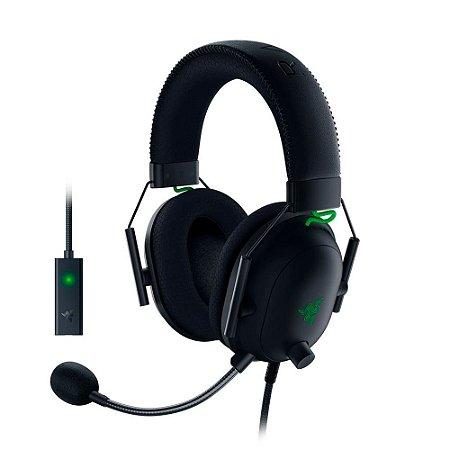 Razer Fone de ouvido para jogos BlackShark V2: THX 7.1 Spatial Surround Sound - Drivers de 50 mm - Microfone destacável - PC, PS4, PS5, Switch, Xbox One, Xbox Series X e S, Mobile - Entrada de áudio de 3,5 mm e DAC USB - Preto