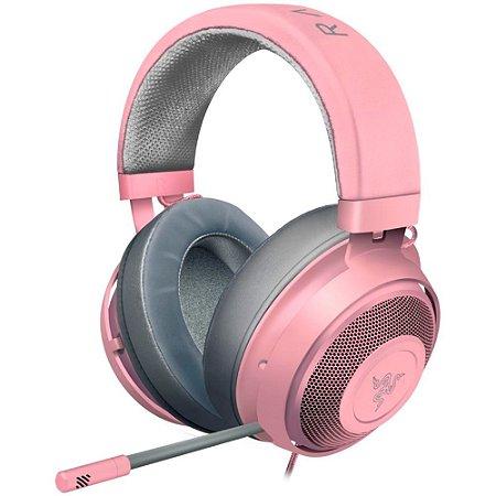 Razer Kraken Fone de ouvido para jogos: armação de alumínio leve, microfone retrátil com isolamento de ruído, para PC, PS4, PS5, Switch, Xbox One, Xbox Series X e S, Mobile, conector de áudio de 3,5 mm, quartzo rosa (Encomenda, 10 Dias úteis)