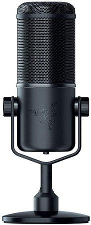 Razer Microfone de transmissão USB Seiren Elite: Filtro de passagem alta de nível profissional - Montagem de choque embutido - Padrão de captação supercardiódica - Alumínio anodizado - Preto clássico