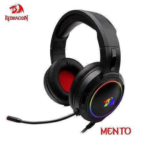 Fone de ouvido para jogos Redragon Mento H270 RGB, som surround de 3,5 mm Fone de ouvido para computador