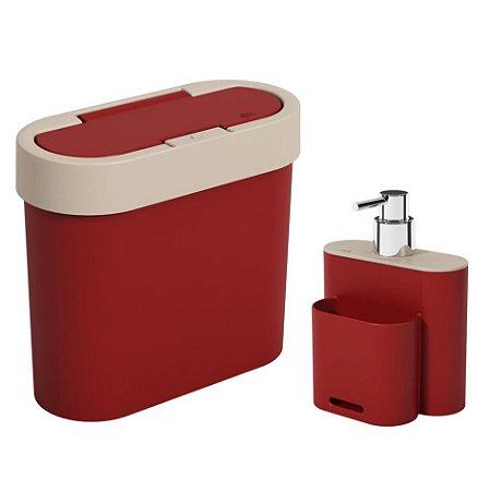 Kit Lixeira 2,8 Litros Cesto De Lixo Dispenser Porta Detergente Esponja Pia Cozinha Flat - Coza