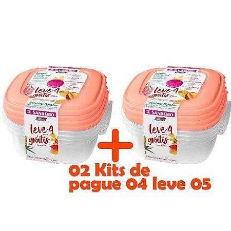 Kit Potes Plástico Pague 8 leve 10 Mantimentos Geladeira Cozinha - SR455 Sanremo