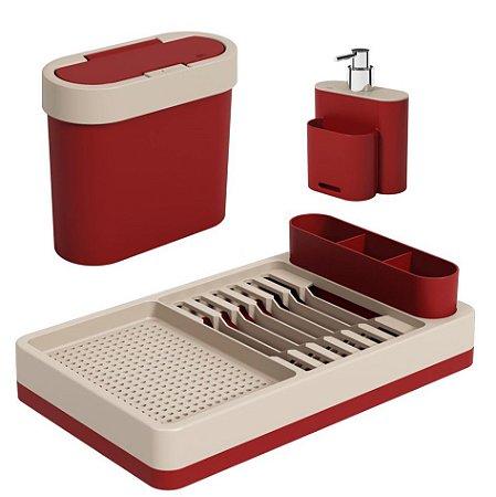 Kit Lixeira 2,8L Escorredor Louças Dispenser Porta Detergente Pia Cozinha Flat - Coza - Vermelho