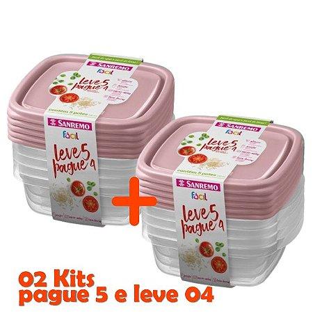 Kit Potes Plástico Hermético Pague 8 Leve 10 Mantimentos Cozinha - SR124 Sanremo