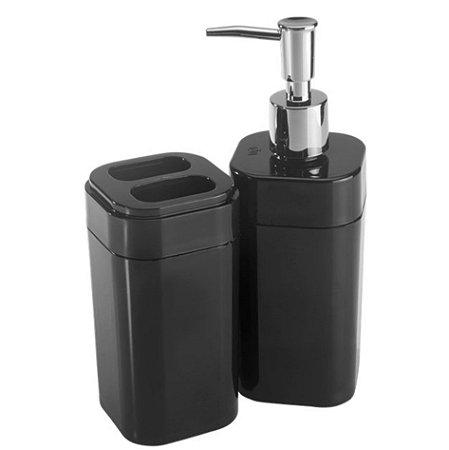 Conjunto Portas Escovas Dispenser Sabonete Líquido Banheiro Splash - 99096 Coza - Preto