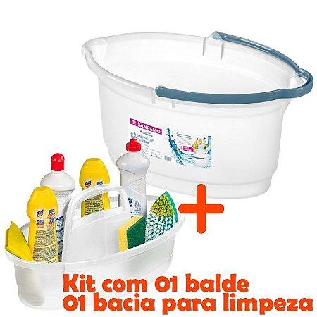 kit Balde 14l Oval Limpeza Rodo + Balaio Cesto Lavanderia Plástico - Sanremo