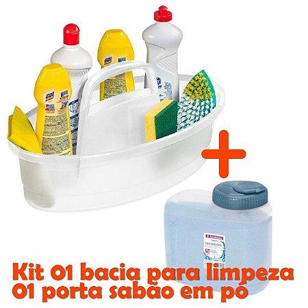kit Balaio Cesto Oval Lavanderia Plástico + Pote Porta Sabão Pó 1Kg - Sanremo