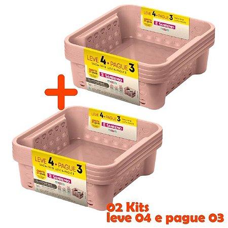 Kit Cesto Organizador 1,6L Pague 6 Leve 8 Plástico Gaveta Armário - Sanremo