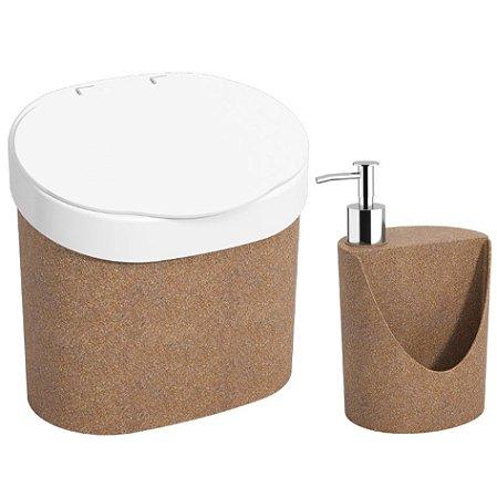 Kit Lixeira 4L Com Tampa Dispenser Detergente R&J Porta Esponja Bios Pia Cozinha - Coza - Madeira