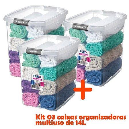 Kit 3 Caixa Organizadora 14l Multiuso Porta Utensílios Closet Armário Roupas - Sanremo