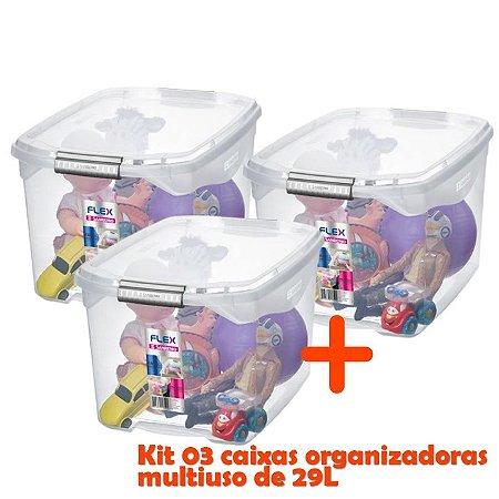 Kit 3 Caixa Organizadora 29l Multiuso Porta Utensílios Closet Roupas Brinquedo - Sanremo