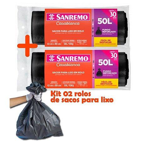 Kit Sacos Para Lixo 60un Em Rolo 50 Litros Reforçado Cozinha Lixeira Banheiro - Sanremo