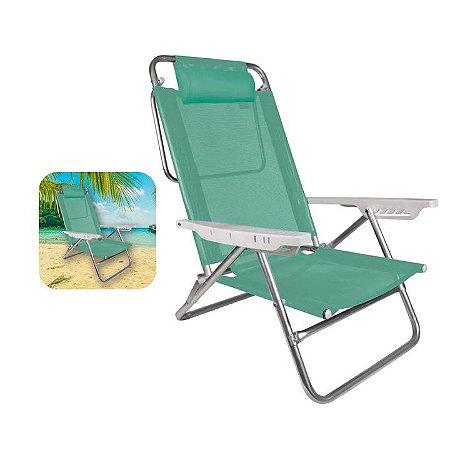 Cadeira Reclinável 6 Posições Com Almofada Alumínio Praia Camping Piscina - Mor