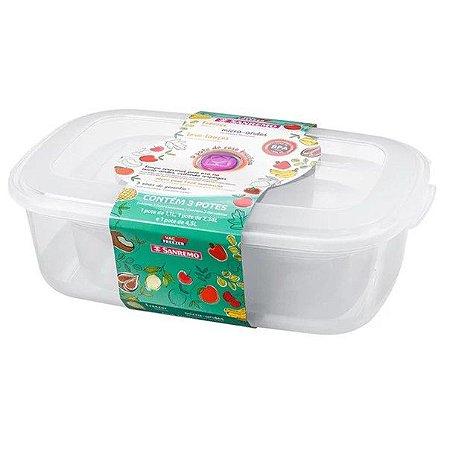 Conjunto 3 Potes Plásticos Alimentos Mantimentos Geladeira Cozinha - 390/2c Sanremo - Transparente
