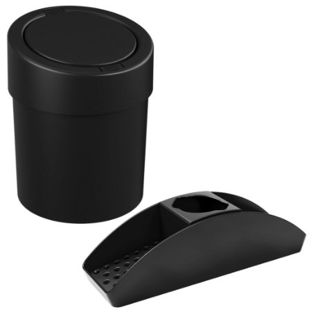Kit Organizador Pia Porta Detergente Lixeira Click 5L Cesto Lixo Cozinha Preto - Coza