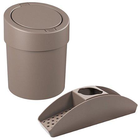 Kit Organizador Pia Porta Detergente Lixeira Click 5L Cesto Lixo Cozinha Cinza - Coza