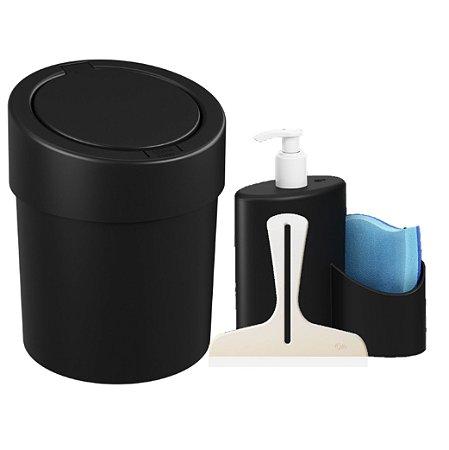 Kit Lixeira Click 5L Dispenser Detergente  Rodinho Abraço Pia Cozinha Preto - Coza