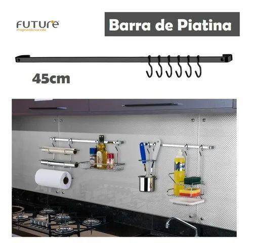 Barra Piatina 45cm Com 6 Ganchos Utensílios Cozinha Onix Preto - 2411ox Future