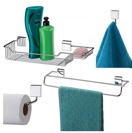 Conjunto 04 Peças Inox de Parede para Banheiro 7511 - Future