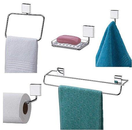 Conjunto 05 Peças Inox de Parede para Banheiro 7510 - Future