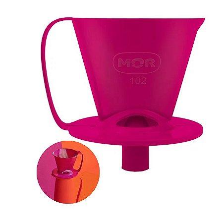 Suporte Coador Filtro Café Passado 102 Encaixar Rosa - Mor