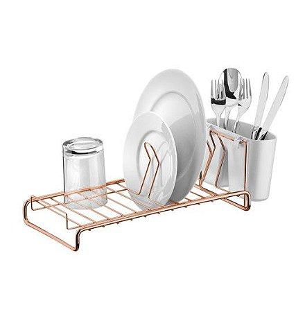 Escorredor De Louças Pratos Copos Talheres Cozinha Compacto Rosé Gold - 984RG Future