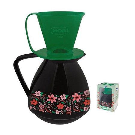 Conjunto Bule Térmico 650ml Amare Decorado Presente  + Suporte Coador Café - Mor - Preto