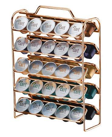 Organizador Porta 50 Cápsulas Café Nespresso Rosé Gold 1147rg - Future