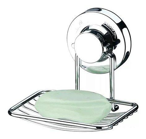 Porta Sabonete Saboneteira Com Ventosa Banheiro Cromado - 4003 Future