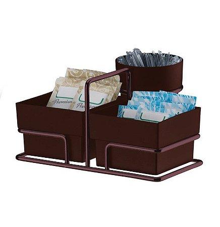 Porta Sachês Chá Açúcar Mexedor Suporte Organizador Bronze - 1156BZ Future
