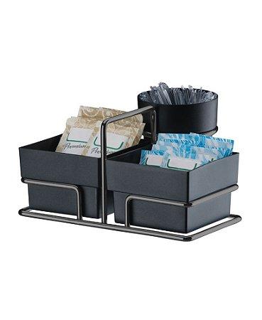 Porta Sachês de Açúcar Adoçante Chá e Mexedor Organizador Preto Onix - 1156ox - Future
