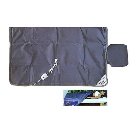 Manta Térmica Saco Dormir 1.80x1.80m Corpo Inteiro Estética Redutor Medida Digital Cinza - Sonobel - 110v