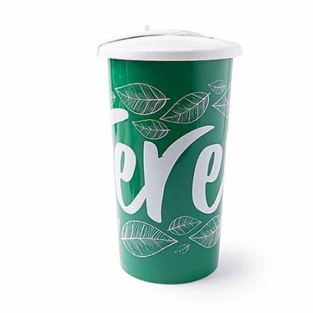 Copo Plástico Para Erva Tererê Com Tampa 450ml Cuia Verde - Taumer