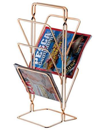 Revisteiro de Chão Porta Revistas Jornal Rosé Gold 1210rg - Future