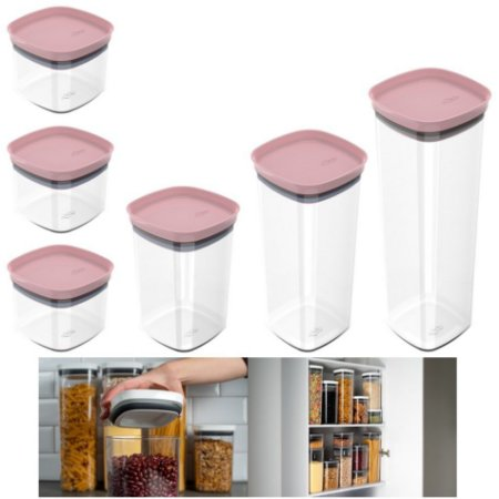 Kit 6 Potes Herméticos Porta Alimentos Mantimentos Com Tampa Cozinha Block - KTE 026 Ou - Rosa