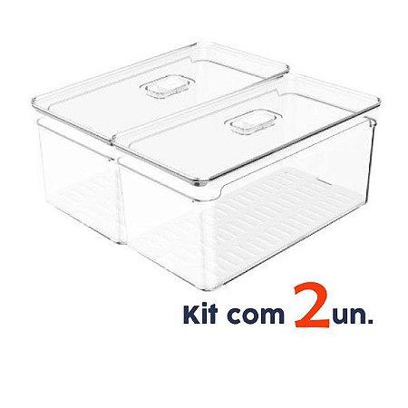 Kit 2 Organizador Porta Mantimento 5 L C/ Tampa Geladeira Fruta Verdura Clear Fresh - Ou