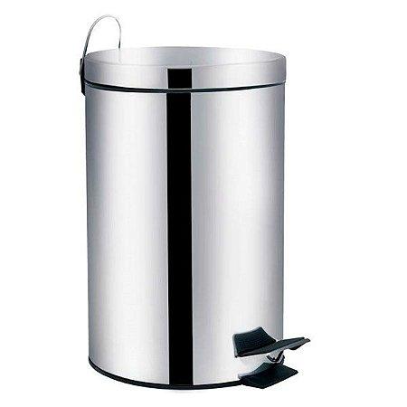 Lixeira Aço Inox 5 Litros Cesto Lixo Com Pedal Balde Removível Cozinha Ágata - 8222 Mor