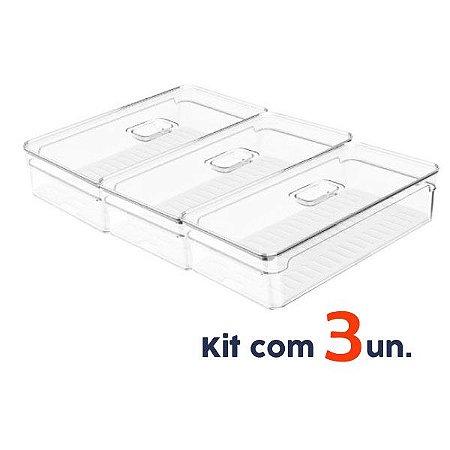 Kit 3 Organizador Porta Mantimento 2,8L C/ Tampa Geladeira Fruta Verdura Clear Fresh - Ou