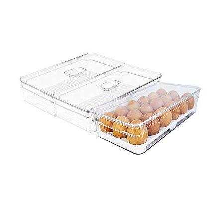 Kit 3 Organizador Porta Fruta Legumes Ovos Com Tampa Geladeira Clear Fresh - Ou