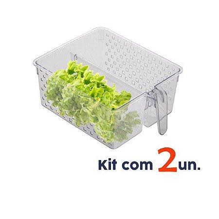 Kit 2 Cesto Organizador Utensílios Com Divisória Alça Armário Cozinha Lavanderia - Paramount