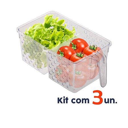 Kit 3 Organizador Porta Mantimentos Alça Armário Geladeira Cozinha 34x19x14cm - Paramount