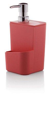 Dispenser Porta Detergente Esponja 650ml Pia Cozinha Trium - DT 500 Ou - Vermelho