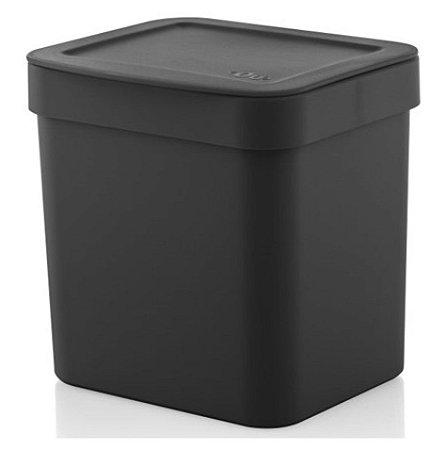 Lixeira Trium 2,5 Litros Porta Cesto De Lixo Cozinha Pia - LX 500 Ou - Preto