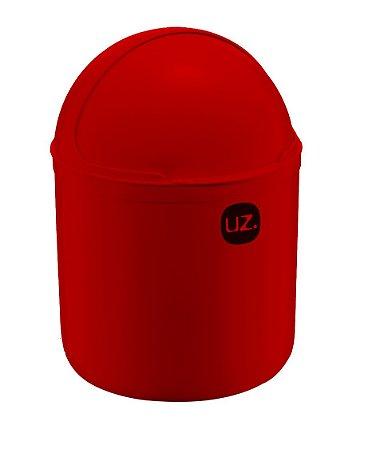 Lixeira Plástica 4 Litros Cesto De Lixo Tampa Basculante Pia Cozinha - UZ351 Uz - Vermelho